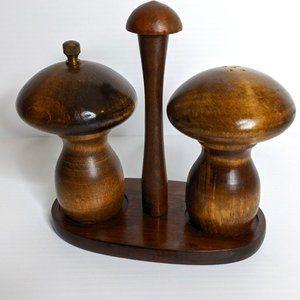 Vintage wooden mushrooms salt & pepper shakers